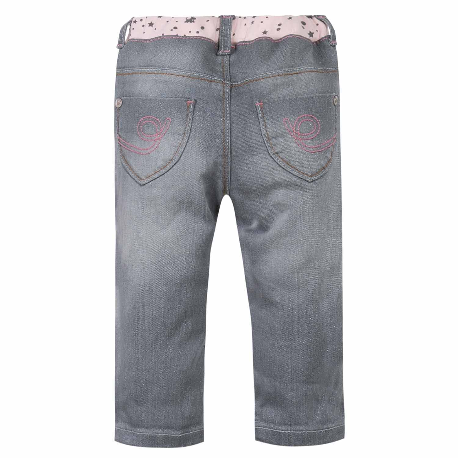 chipie baby jeans hose grau rosa glitzer sterne logo 62 68. Black Bedroom Furniture Sets. Home Design Ideas