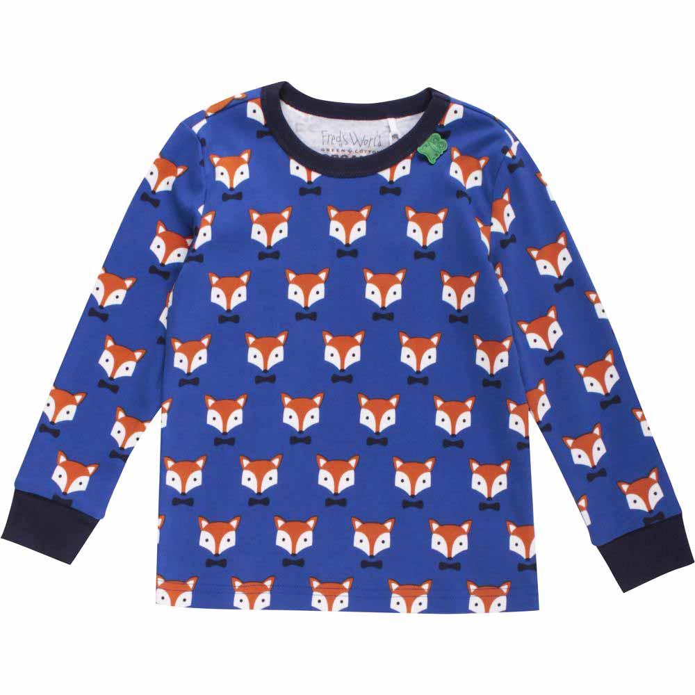 fred 39 s world green cotton langarmshirt allover fox 104 110. Black Bedroom Furniture Sets. Home Design Ideas