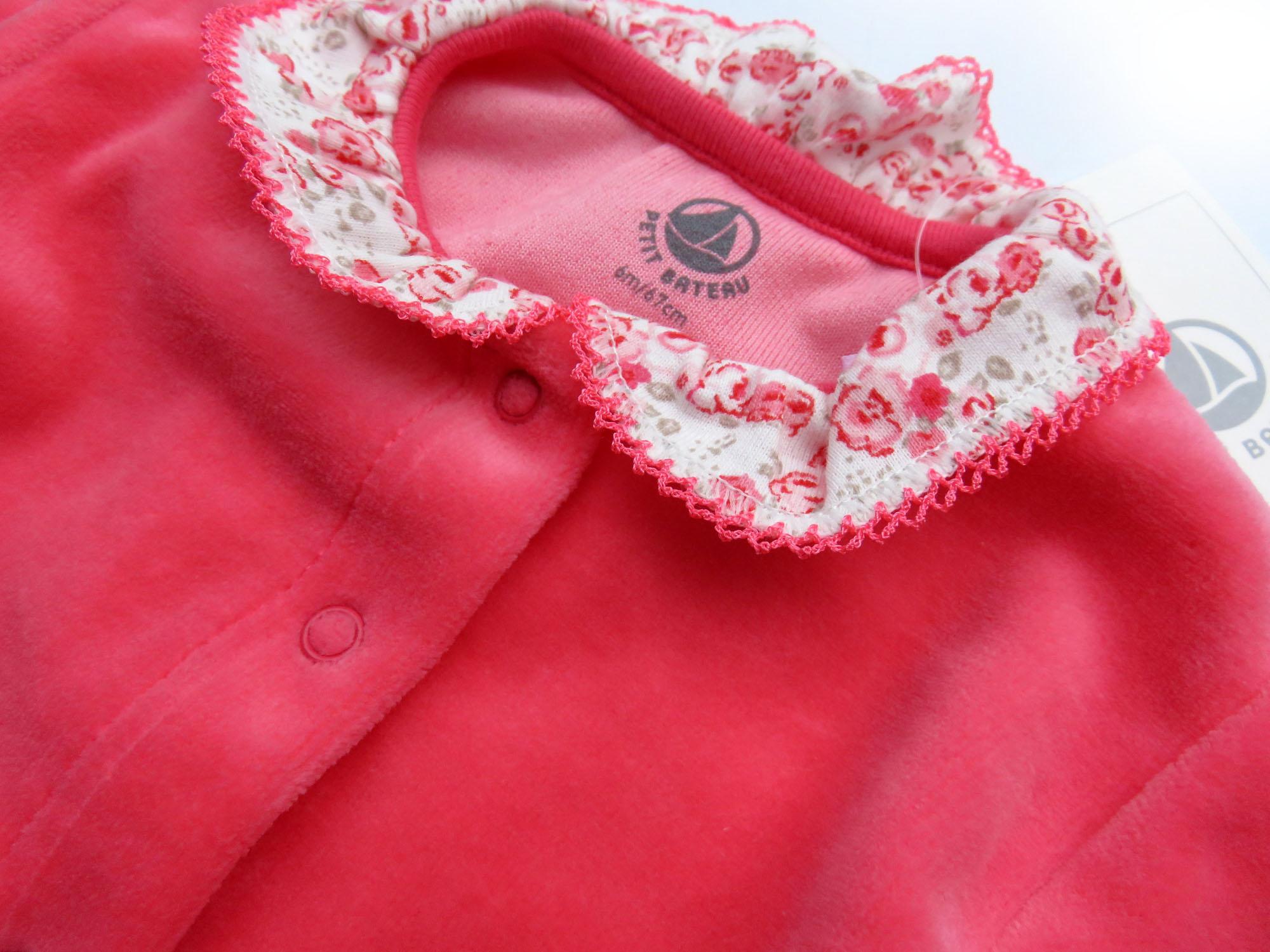 PETIT BATEAU Nicky Strampler mit Blumen Volants rosa pink 3m 6m 9m 56 62 68 74