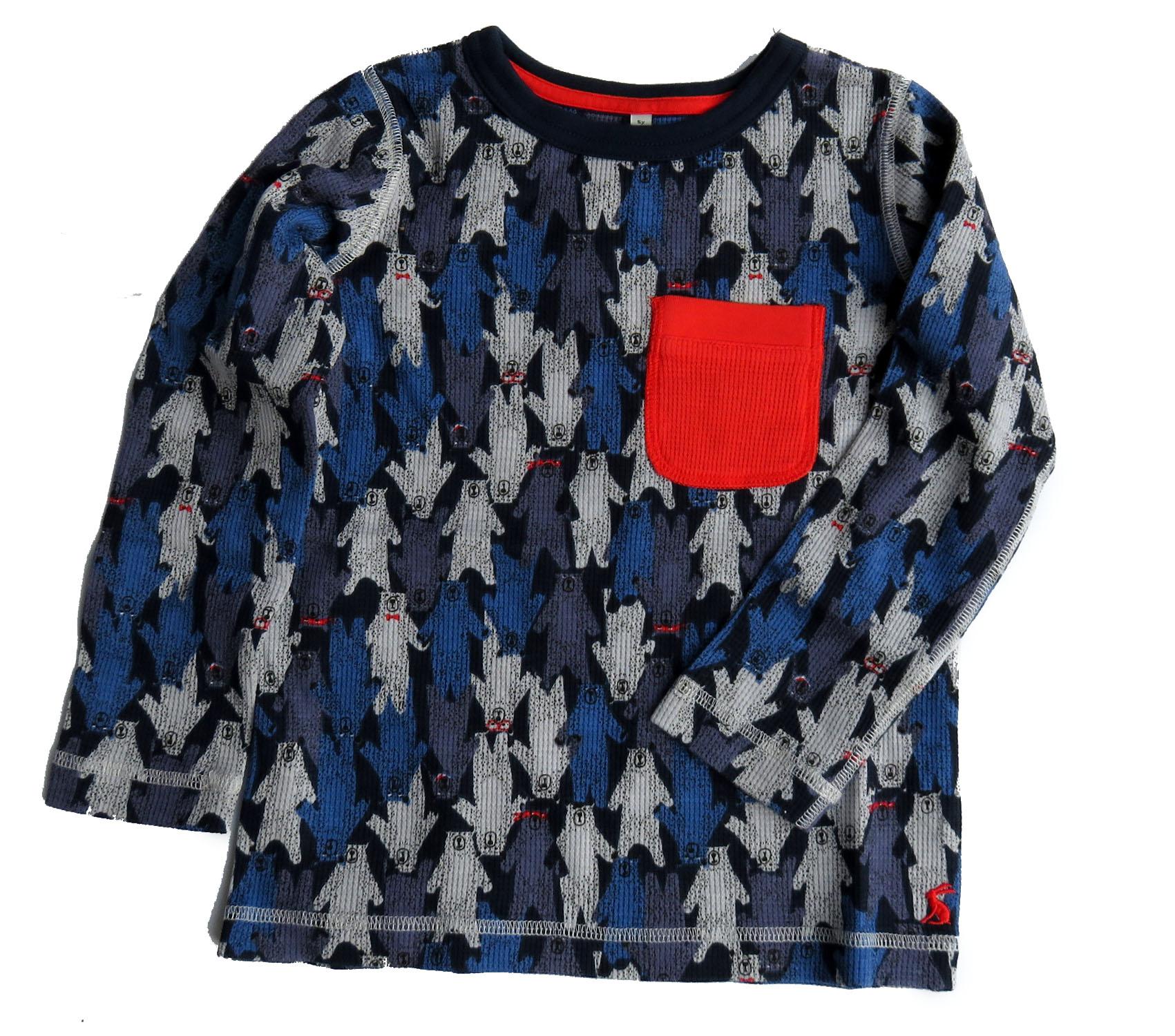 TOM JOULE Longsleeve T-Shirt grau mit Rucksack Print Applikation 98 104 110 116
